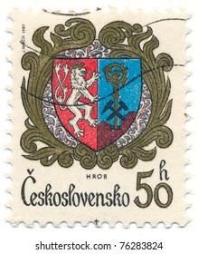 CZECHOSLOVAKIA - CIRCA 1982: A stamp printed in Czechoslovakia, shows arms of Hrob, circa 1982