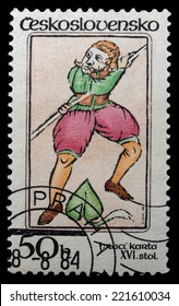 CZECHOSLOVAKIA - CIRCA 1984: stamp printed by Czechoslovakia, shows Playing card - ack of Spades, circa 1984