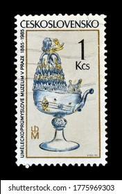 CZECHOSLOVAKIA - CIRCA 1985: Cancelled postage stamp printed by Czechoslovakia, that shows  Venetian glass, circa 1985.