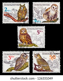 CZECHOSLOVAKIA - CIRCA 1986: A set of postage stamps printed in CZECHOSLOVAKIA shows birds-owls, series, circa 1986