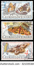 CZECHOSLOVAKIA- CIRCA 1987: A set of postage stamps printed in the Czechoslovakia, shows series Butterflies, circa 1987