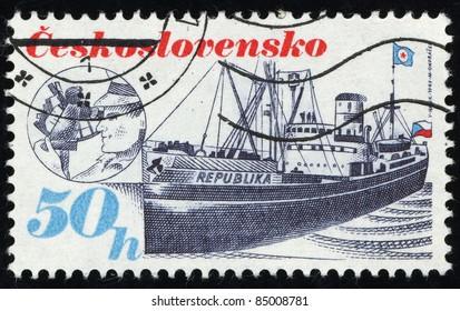 CZECHOSLOVAKIA - CIRCA 1989: A Stamp printed in Czechoslovakia shows image of Ship, circa 1989