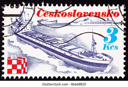 CZECHOSLOVAKIA - CIRCA 1989:  A stamp printed in Czechoslovakia shows the container ship Trinec, named after the town in Czechoslovakia, circa 1989.