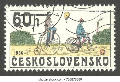 Czechoslovakia - stamp 1979, Multicolor commemorative issue Cycling, Series Historic bicycles, Bicycles 1886