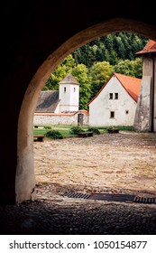 CZERWONY KLASZTOR, SLOVAKIA - AUGUST 22: Courtyard of Red Monastery in Pieniny Mountains on August 22, 2017 in Czerwony Klasztor, Slovakia.