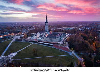 Czestochowa and Jasna Gora monastery. The Jasna Gora Luminous Mount Monastery in Czestochowa Poland is a famous Polish shrine to the Virgin Mary and one of the country's places of pilgrimage