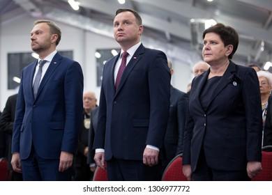 Czestochowa, Poland - 25 October 2018:  Andrzej Duda president of Poland, Beata Szydlo vice Prime Minister of Poland and Artur Warzocha  during national convention of delegates NSZZ Solidarnosc