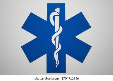 Czestochowa, Poland - 3 April 2020: symbol Rod of Asclepius, Health Care sign