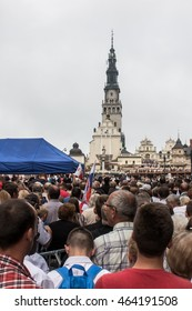 Czestochowa, Poland - July 28, 2016: Pilgrims waiting for the arrival of Pope Francis at Jasna Gora in Czestochowa