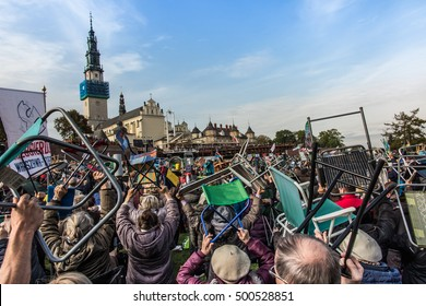 Czestochowa, Poland - October 15, 2016: United Atonement, all-day prayer meeting people from all over Polish before the top Jasna Gora. Tender: Leave the comfortable chairs and go ...!