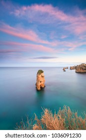 D. Ana Beach and Ponta da Piedade at the sunset