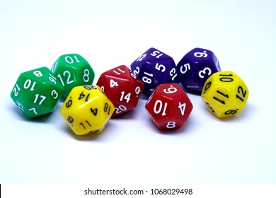 d20 dices in many colors