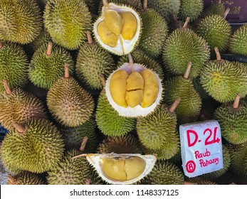 D24 durian from Raub, Pahang, Malaysia being sold at a local market.