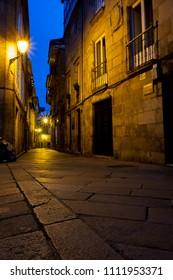 Rúa da Algalia de Arriba - a shopping arcade in the historic center of Santiago de Compostela during the blue hour