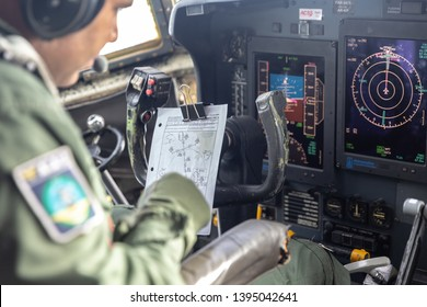 Vitória da Conquista, Bahia / Brazil - Circa May, 2019: Interior of airplane Hercules C-130 of the Brazilian Air Force. Military aircraft panel.