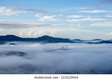 Da Lat- Lam Dong- Viet nam: Beautiful landscape Dalat - Vietnam, The village in fog and sun
