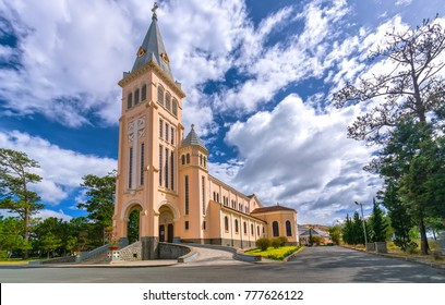 Da lat, Viet Nam - November 27th, 2017: Cathedral chicken. This is the famous ancient architecture, where attracts other tourists to annual spiritual culture in Da lat, Vietnam.
