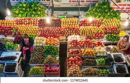 DA LAT / VIETNAM, 2 SEPTEMBER 2018 - Fruits and vegetables on a market in Da Lat Night Market.