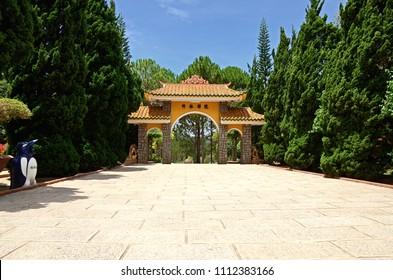 Da Lat / Vietnam -  APRIL 14: 2013. Truc Lam Temple is a Zen Buddhist temple outside the resort town of Da Lat, in Vietnam.