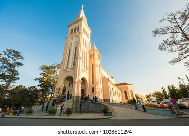 Da Lat, VIETNAM - February 11, 2018, Da Lat Cathedral, Cathedral of the chicken on blue sky background, Many People come worship god, Da Lat Vietnam