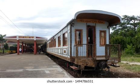 Da Lat, Vietnam - January 5, 2017 : An old vintage train parking at Da Lat railway station.