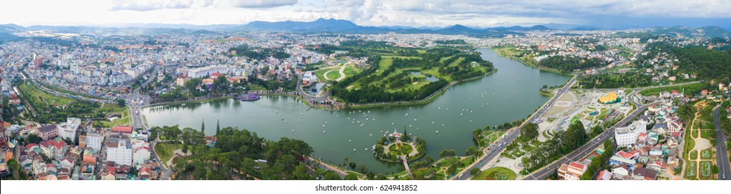 Da Lat, Vietnam - June 03, 2016 : Aerial view of Da Lat city, Vietnam. It is centered around a lake and golf course, and surrounded by hills, pine forests, lakes and waterfalls