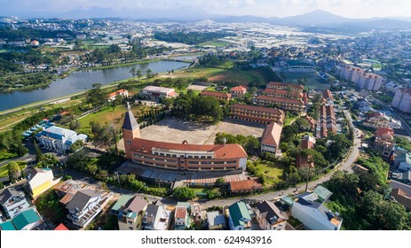 Da Lat, Vietnam - June 03, 2016 :Aerial view of ancient architecture of Pedagogical College of Dalat on day at Dalat, Vietnam, a famous place for travel