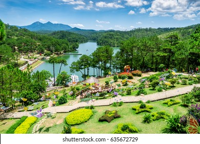 DA LAT, VIETNAM - MAY 18,2016: Love valley in Dalat Vietnam is one of the most romantic sites of Dalat city, with many deep valleys and endless pine forests.