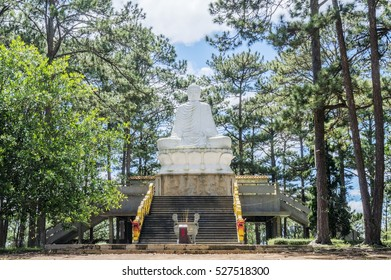DA LAT, VIETNAM - NOV 20,2016: The Tau - Thien Vuong Co Sat Pagoda in Da Lat city (Dalat) on the blue sky background in Vietnam.