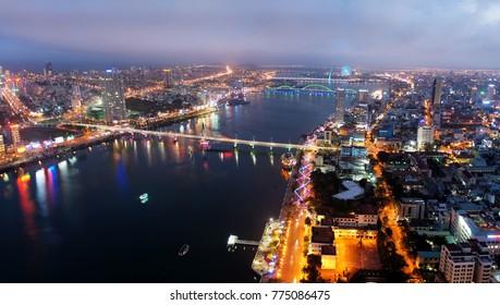 Da Nang city at twilight