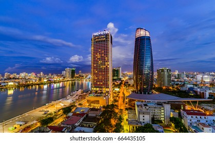 Da Nang city, Vietnam , 11 June 2017, is a famous city for travel in Vietnam. The  picture of Two Highest TowerS in Da Nang City and the symbols of Da Nang City .. are famous places for visit.