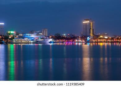 Da Nang City, Vietnam ; JAN. 27 '2018, restaurant ship in Han river at Da Nang city, it is one of Vietnam's most important port cities.