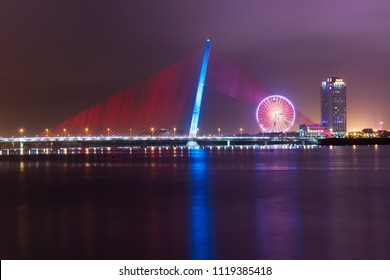 Da Nang City, Vietnam ; JAN. 27 '2018, Tran Thi Ly Bridge at twilight, a concrete cable-stayed bridge with an overall length of 731 meters spans the Han River in the center of the city of Da Nang.