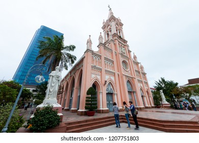 Da Nang City, Vietnam ; JAN. 27 '2018, Da Nang Cathedral, Gothic-style architectural structure with a pink-painted as one of the most unique catholic churches in Vietnam.