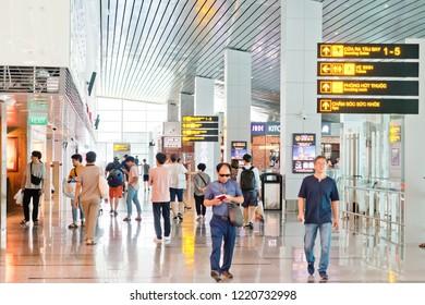 Da Nang International Airport, Vietnam - August 20, 2018 : Da Nang airport terminal lounge, Vietnam