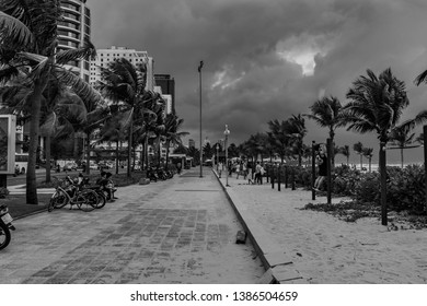 Da Nang, Vietnam - 22 November 2018: Awesome outdoor fitness park next to the beach of Da Nang. Black and white picture.