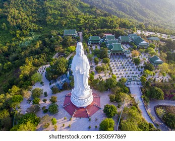 Da Nang, Vietnam: Aerial view of Linh Ung pagoda which is one of the most famous destination of Da Nang city.