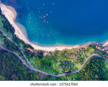 Da Nang, Vietnam: Aerial view of Son Tra peninsula which is one of the most beautiful destination of Da Nang.