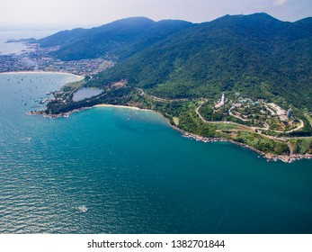 Da Nang, Vietnam: Aerial view of Son Tra peninsula and Linh Ung pagoda which is one of the most famous destination for tourists.