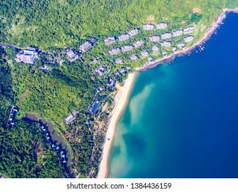 Da Nang, Vietnam:  Aerial view of Da Nang intercontinental hotel and Da Nang beach which is one of the most beautiful beach in the world.