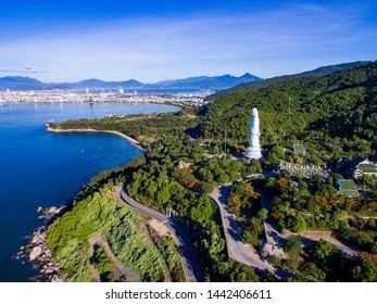 Da Nang, Vietnam: Aerial view of Linh Ung pagoda which is one of the most famous destination for tourists.