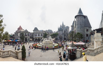 Da Nang, Vietnam - Apr 2, 2016: Panorama view of  Ba Na Hills Mountain Resort, the multi-level complex filled with amusement rides, attractions, restaurants, roller skating...