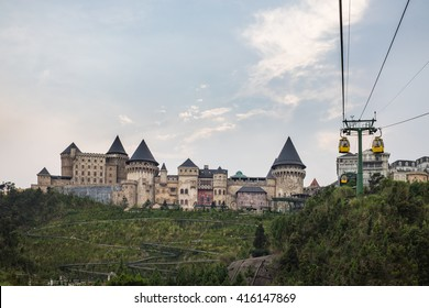 Da Nang, Vietnam - Apr 2, 2016: Aerial view of Ba Na Hills Mountain Resort with cable cars, the multi-level complex filled with amusement rides, attractions, restaurants, roller skating...