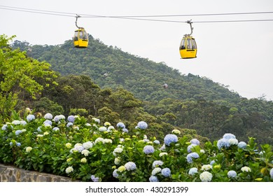 Da Nang, Vietnam - Apr 2, 2016: Cable car with flowers on foreground for transportation to Ba Na Hills site, 30km from Da Nang city