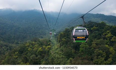 Da Nang, Vietnam - April 15, 2018 : A cable car moving to the top of the mountain at Ba Na Hills, Da Nang, Vietnam. Ba Na Hills.