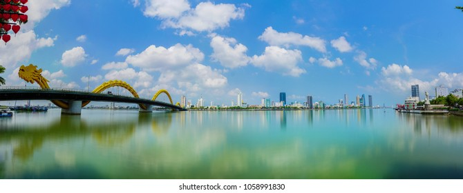 Da Nang, Vietnam - April 1st 2018: View of Han river.