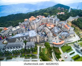 Da Nang, Vietnam - August 7, 2016:Ba Na Hills Mountain Resort, the multi-level complex from high view
