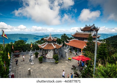 Da Nang, Vietnam - August 7, 2016: Temple in Ba Na Hills Mountain Resort, the multi-level complex