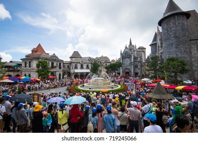 Da Nang, Vietnam - August 7, 2016: European street festival in Ba Na Hills Mountain Resort, the multi-level complex filled with amusement rides, attractions, restaurants, roller skating...
