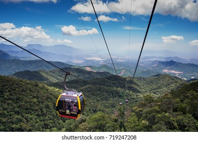 Da Nang, Vietnam - August 7, 2016:Cable car to Ba Na Hills Mountain Resort, the multi-level complex filled with amusement rides, attractions, restaurants, roller skating...